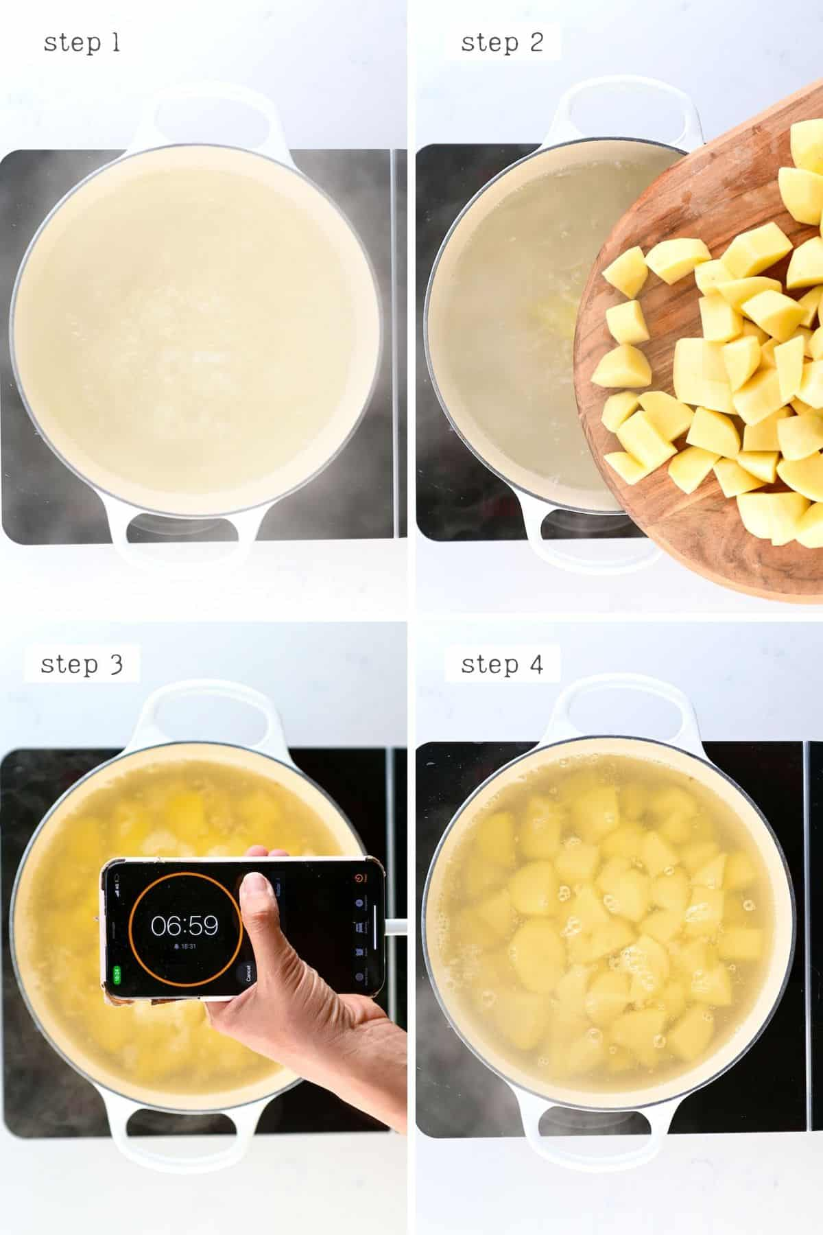 Steps for boiling potatoes