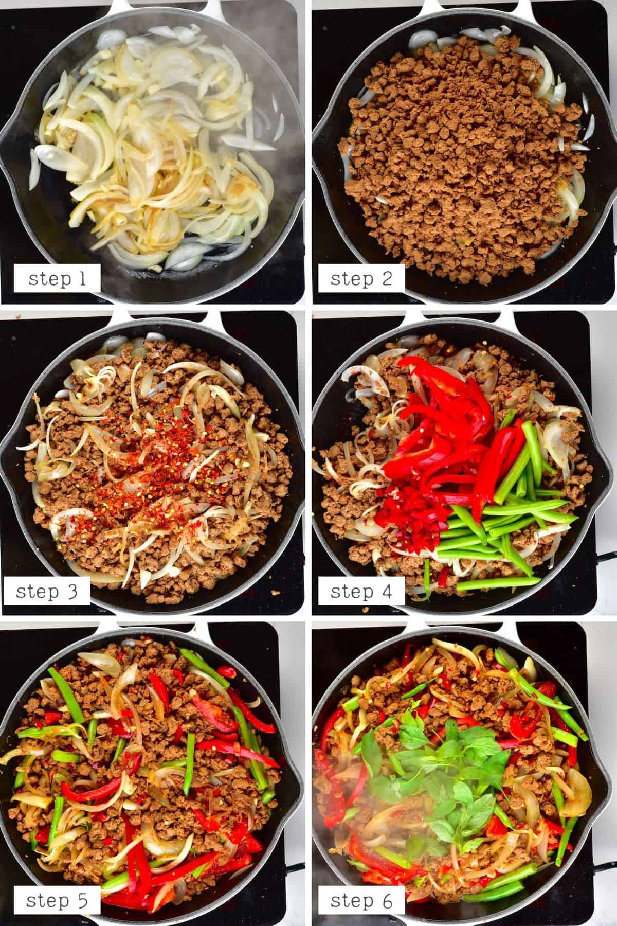 "Steps for cooking Thai basil vegan ""beef"""