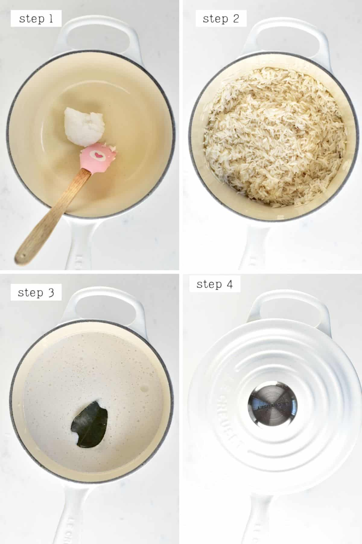 Steps for cooking coconut rice