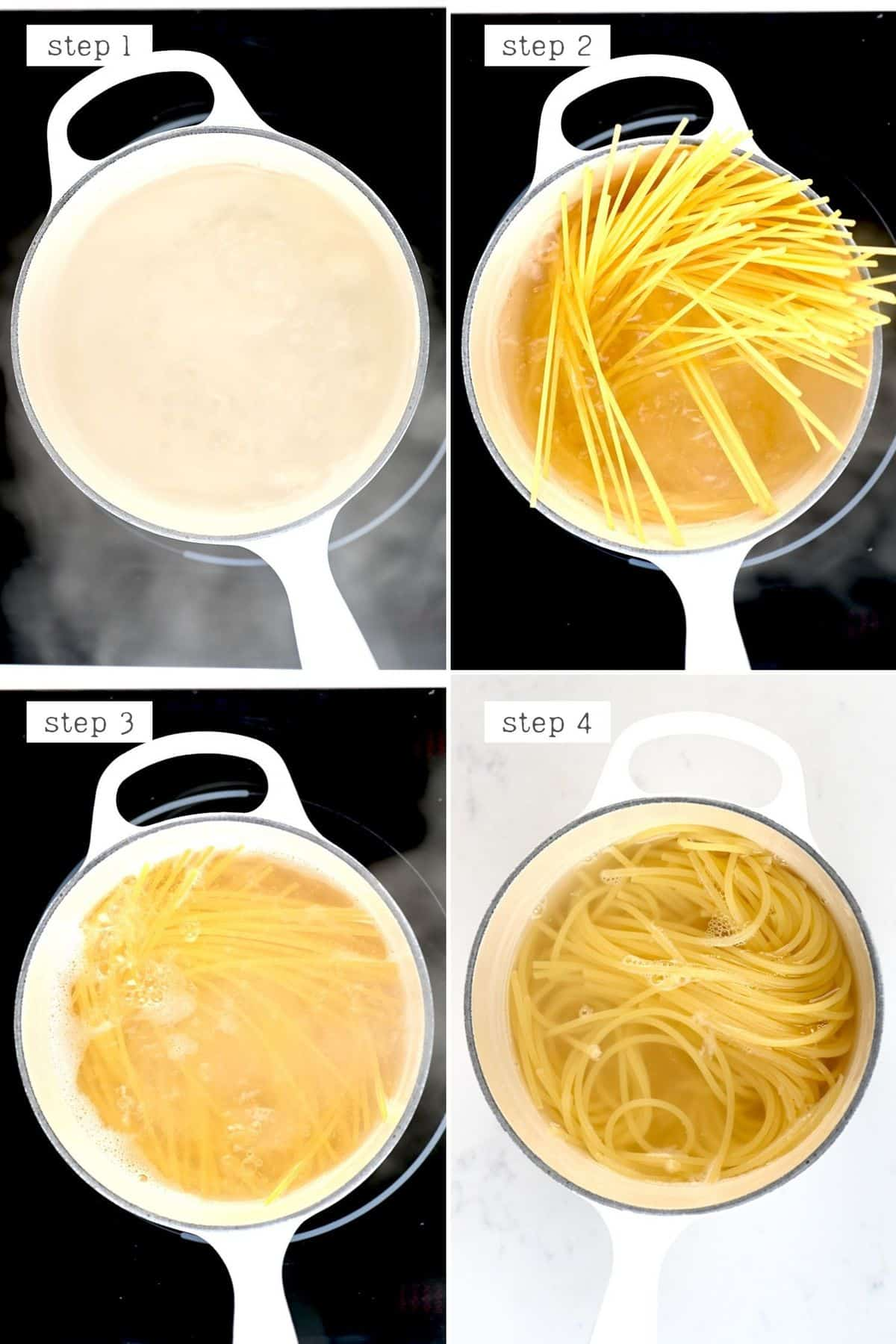 Steps for cooking pasta
