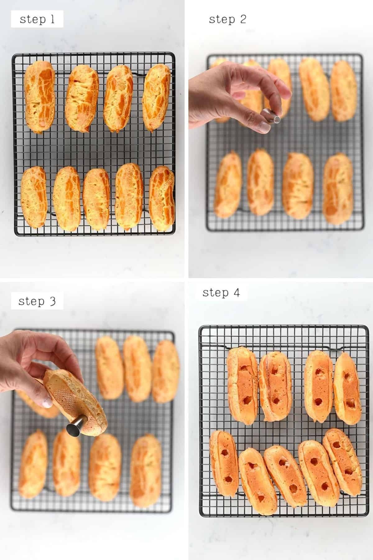Steps for filling an eclair