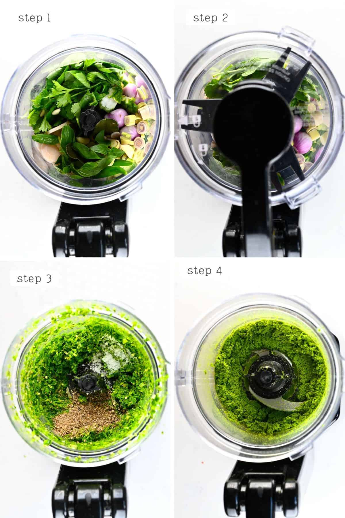 Steps for making Thai Green Curry Paste