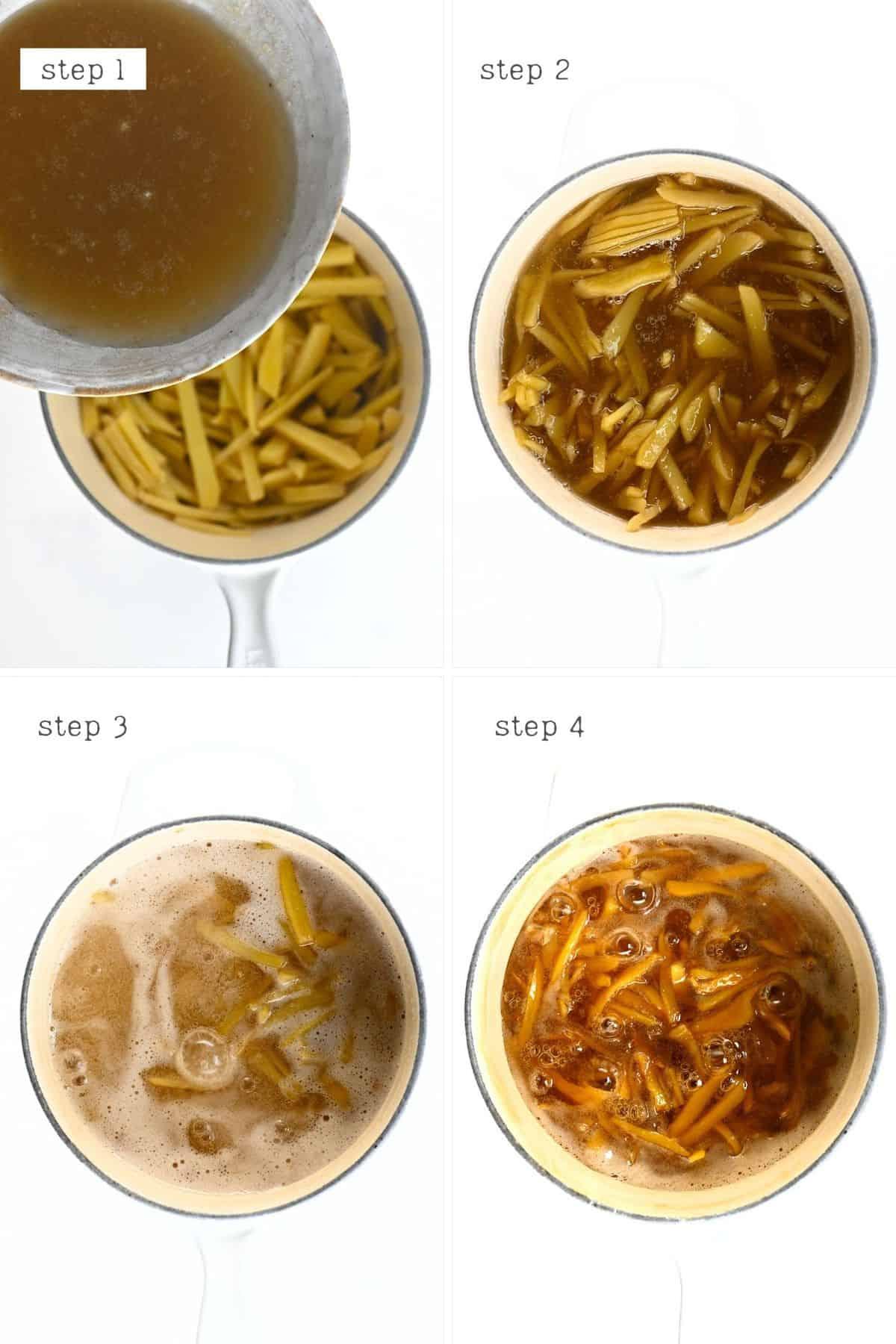 Steps for making ginger jam
