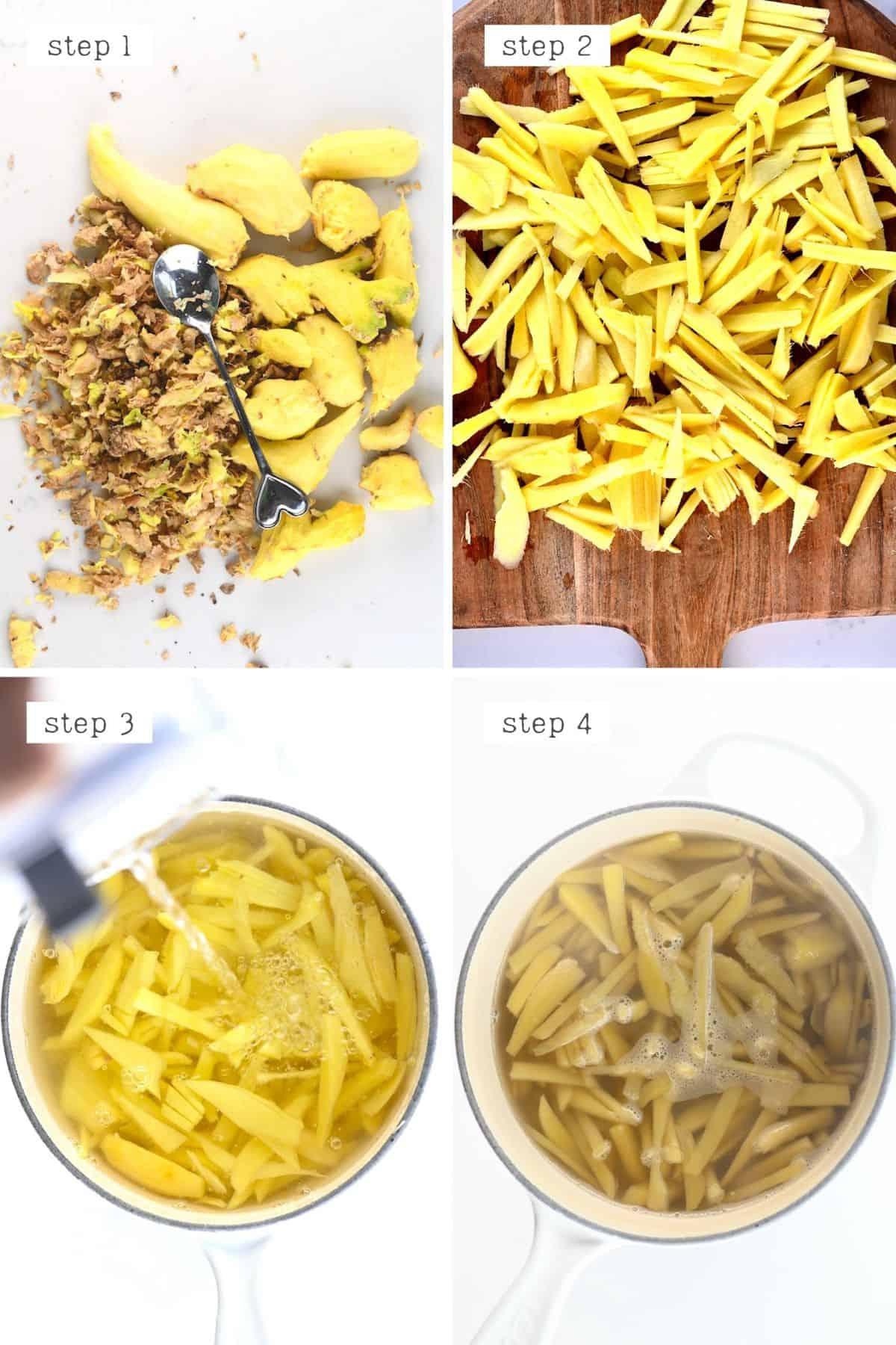Steps for preparing ginger