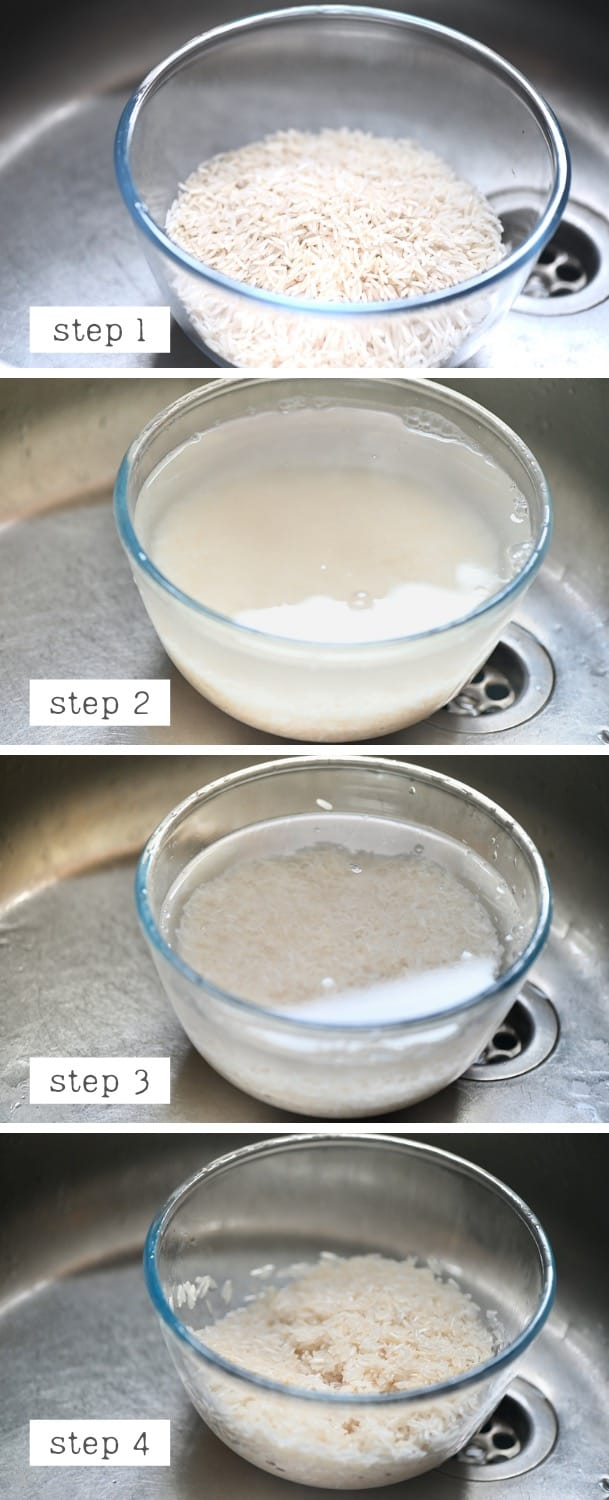 Steps for rinsing rice