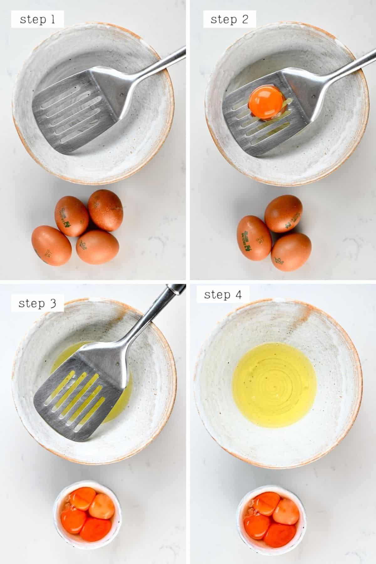 Steps for separating eggs