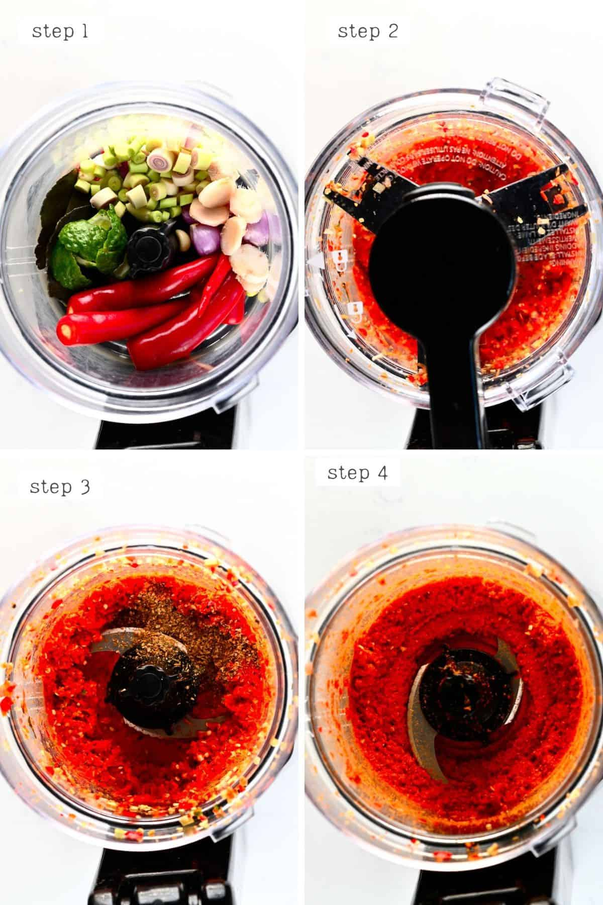 Steps to make Thai Red Curry Paste