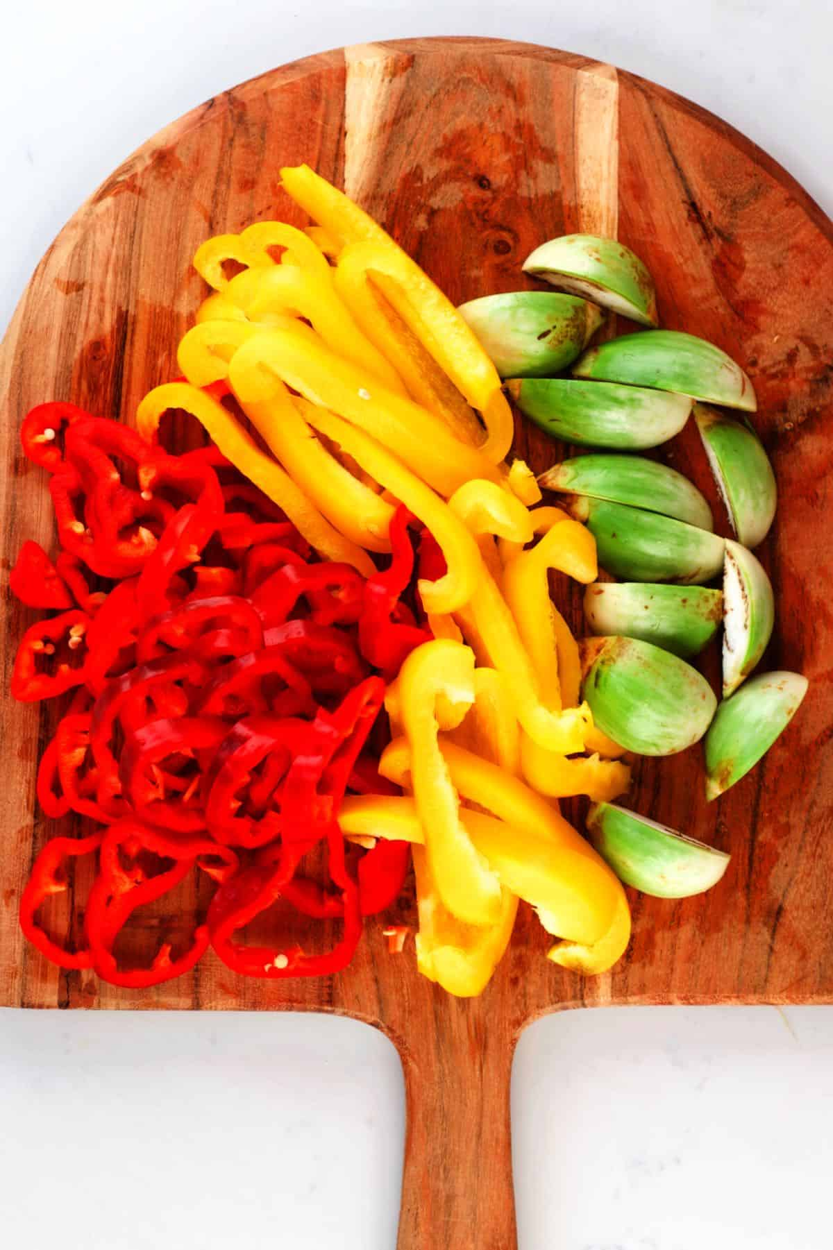 Chopped peppers and Thai aubergine