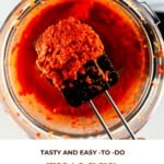 Thai Red Curry Paste in a blender