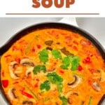 A large pan with Tom yum soup