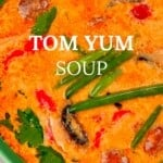 Close up of a bowl with Tom Yum Soup