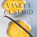 Vanilla Custard in two bowls with one vanilla pod