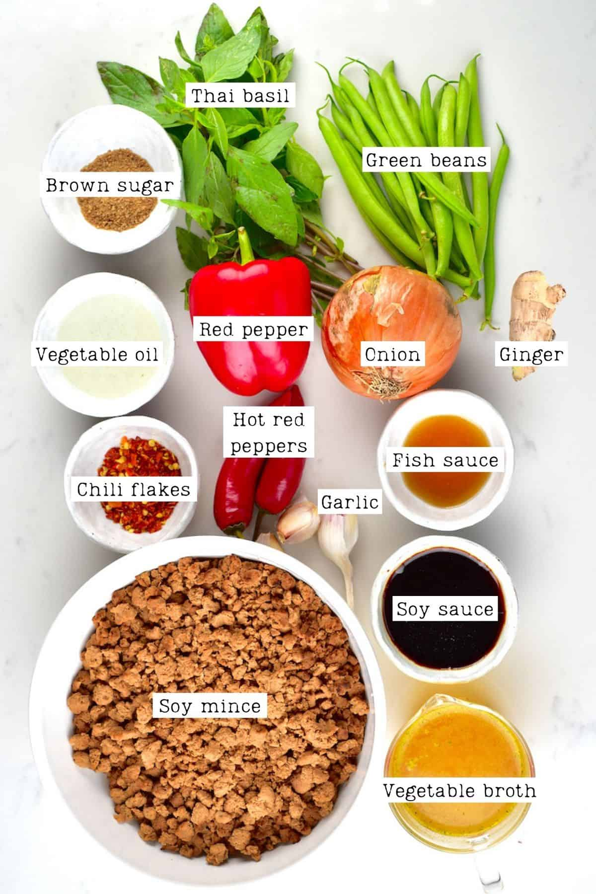 "Ingredients for Thai Basic Vegan ""Beef"""