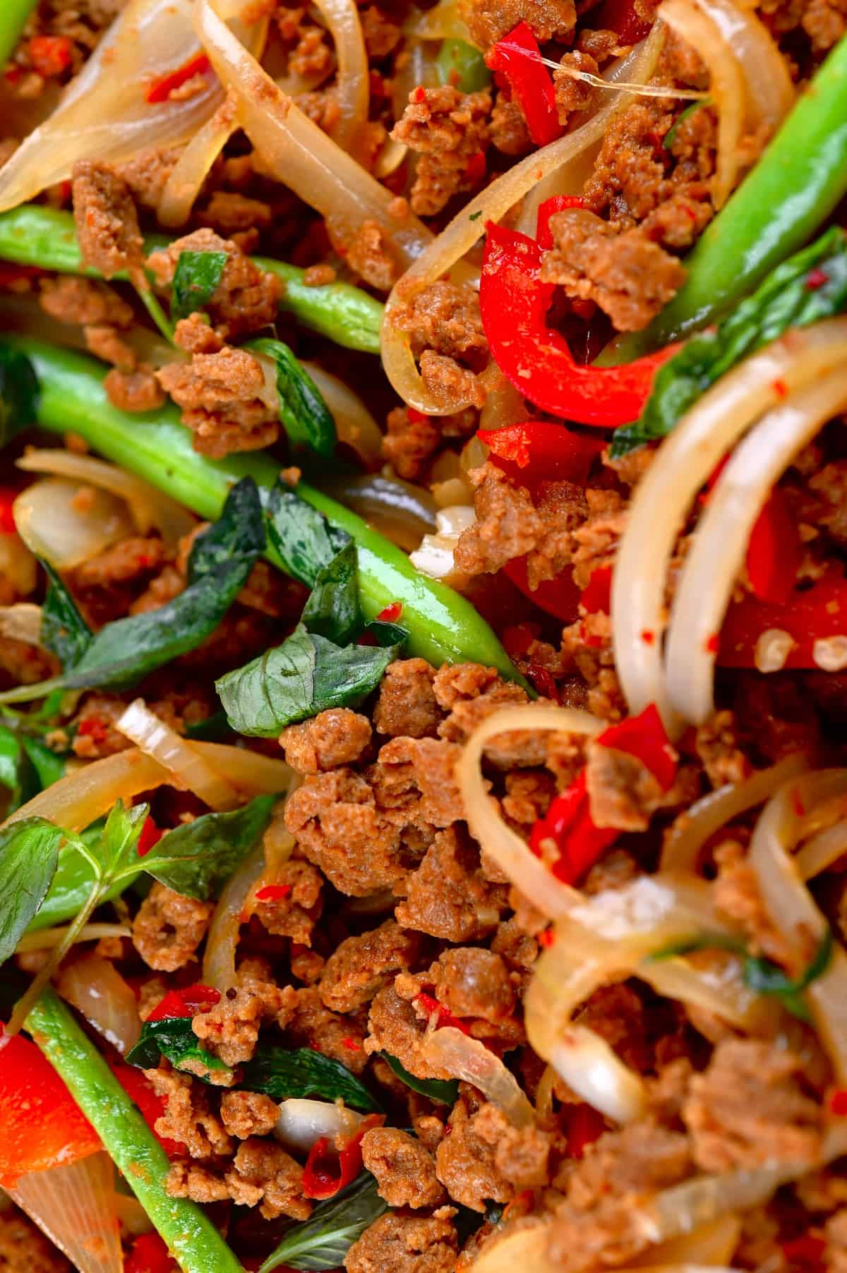 A close up of cooked Thai basil vegan beef with soy mince