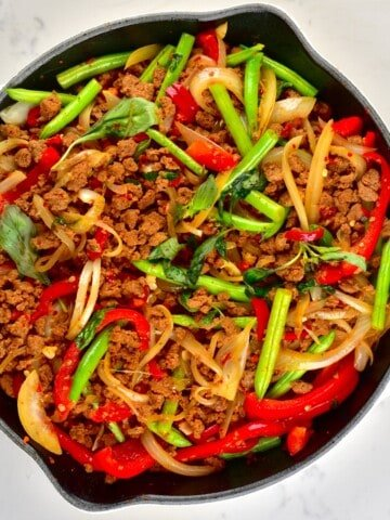 Thai basil vegan beef with soy mince in a pan