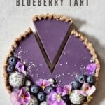 Earl Grey Blueberry Tart with cut slice