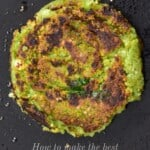 A falafel patty for vegan burger on a dark flat surface