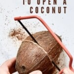 Opening a coconut with a saw