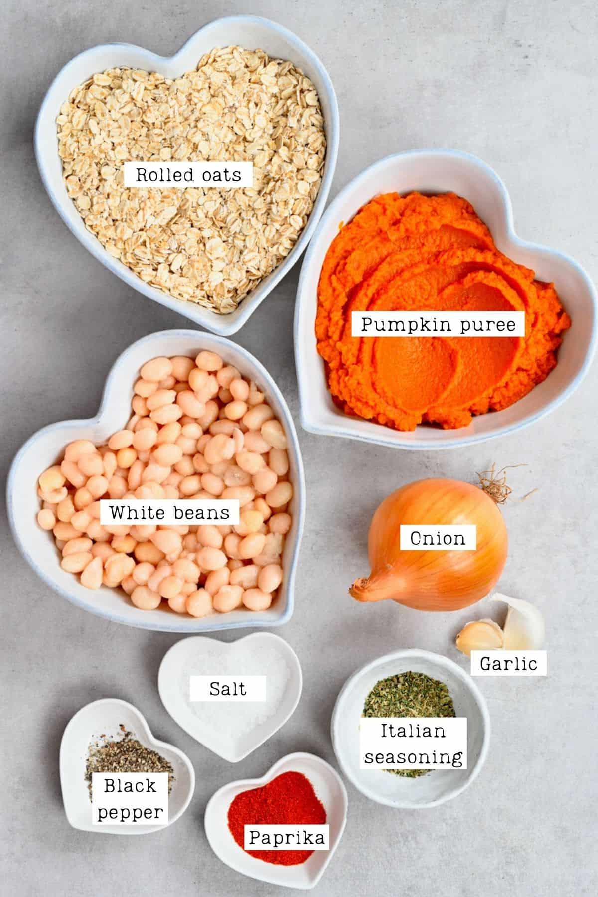 Ingredients for pumpkin burger patties