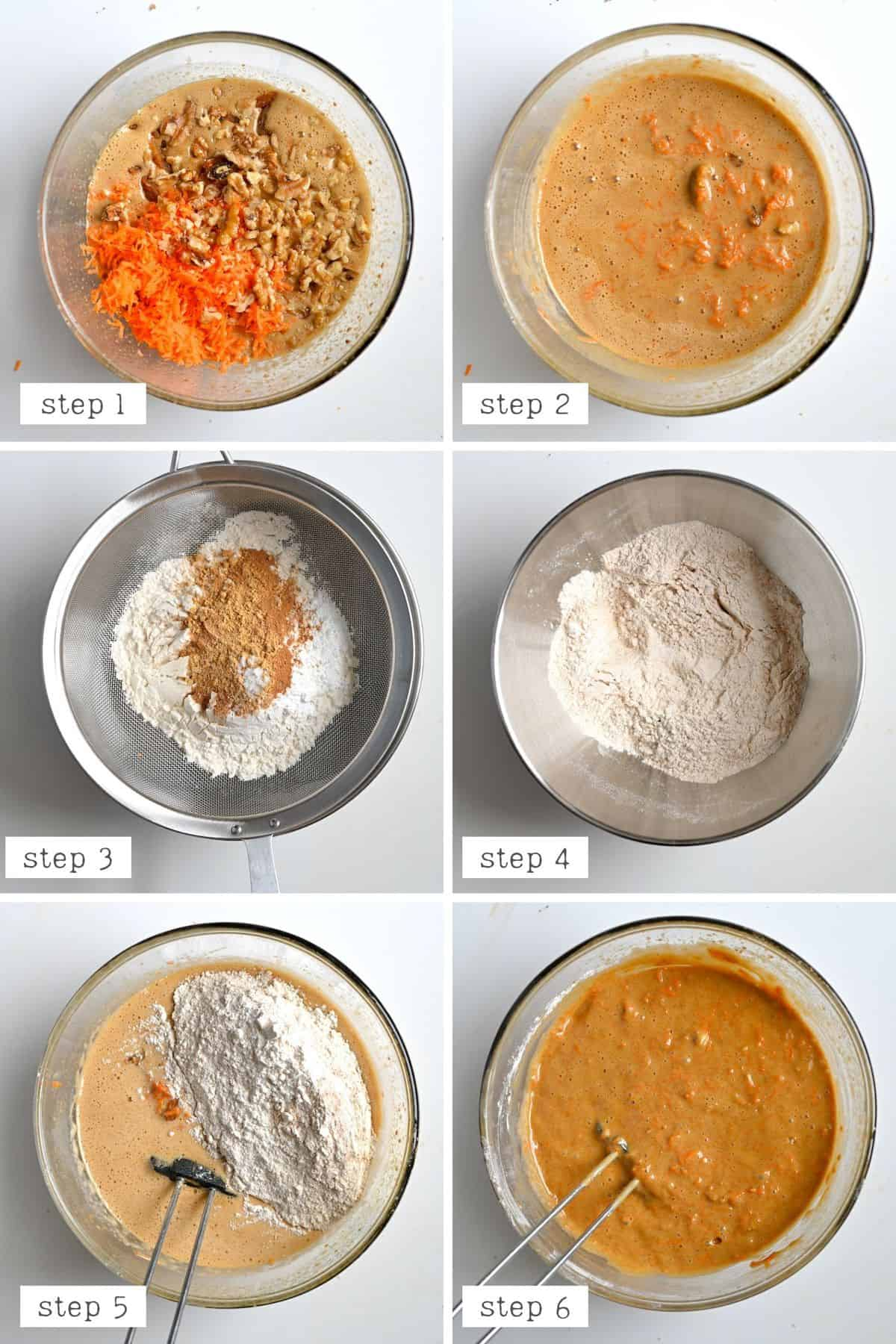 Mixing dry and wet ingredients when making carrot cake