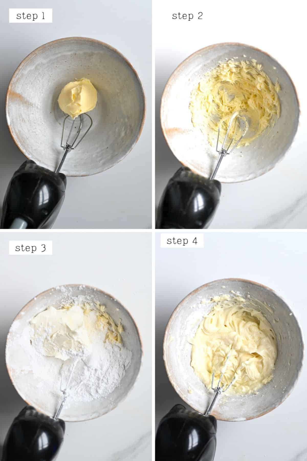 Steps for making cream cheese frosting