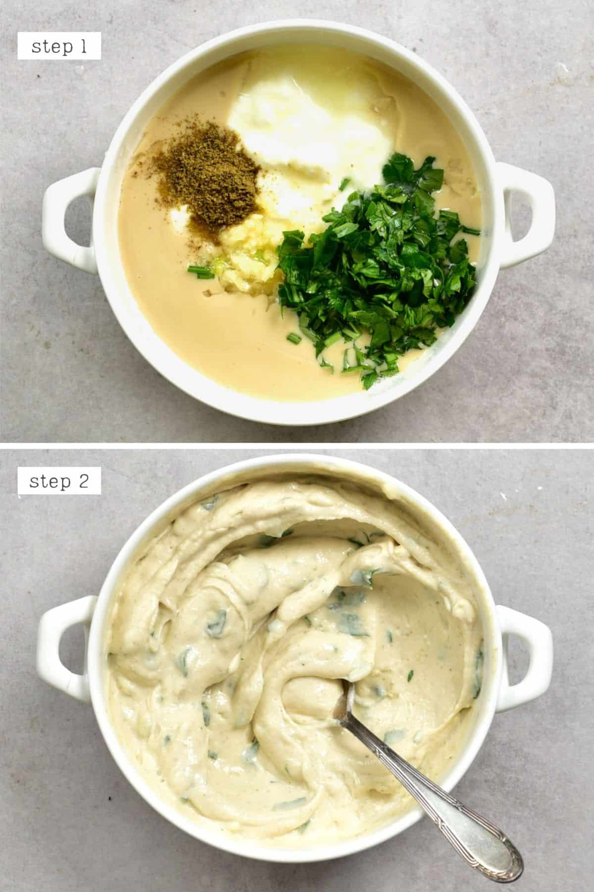 Steps for mixing tahini sauce