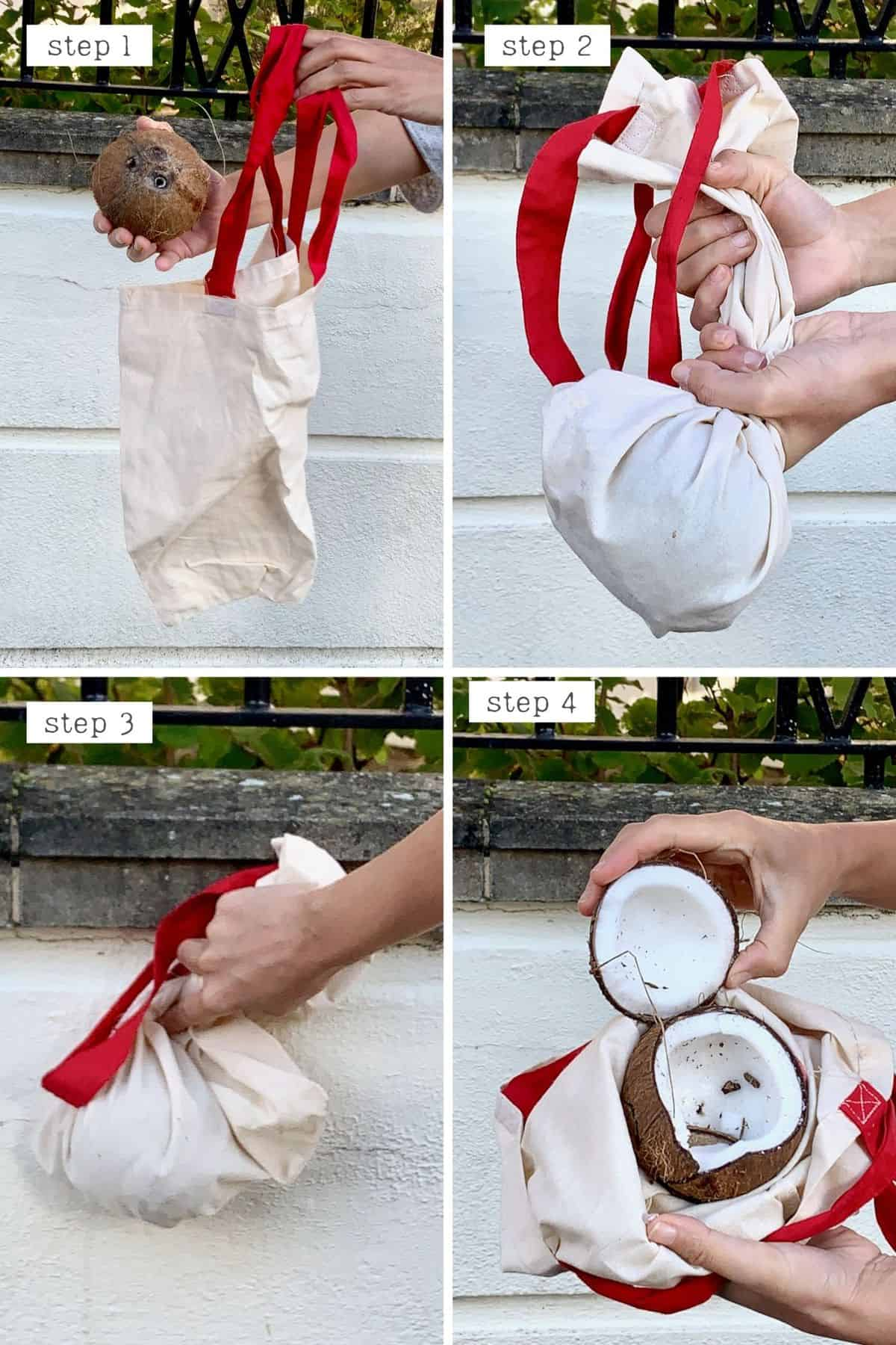 Steps for opening a coconut using the Bang method