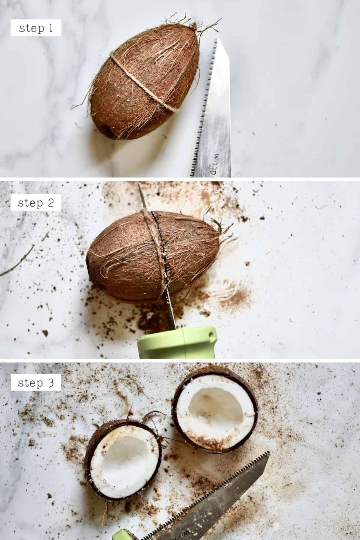 Steps of opening a coconut using a saw