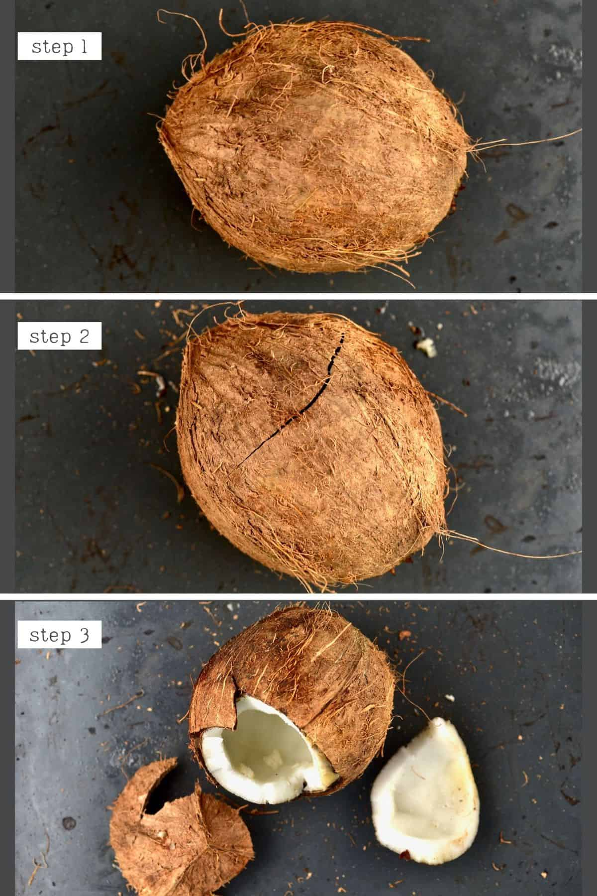 Steps of opening a coconut using the Oven method