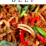 Close up of Stir-Fried Thai Basil Vegan Beef