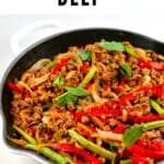 A pan with Stir-Fried Thai Basil Vegan Beef