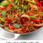 A pan with Stir-Fried Thai Basil Vegan Beef (Pad Krapow)