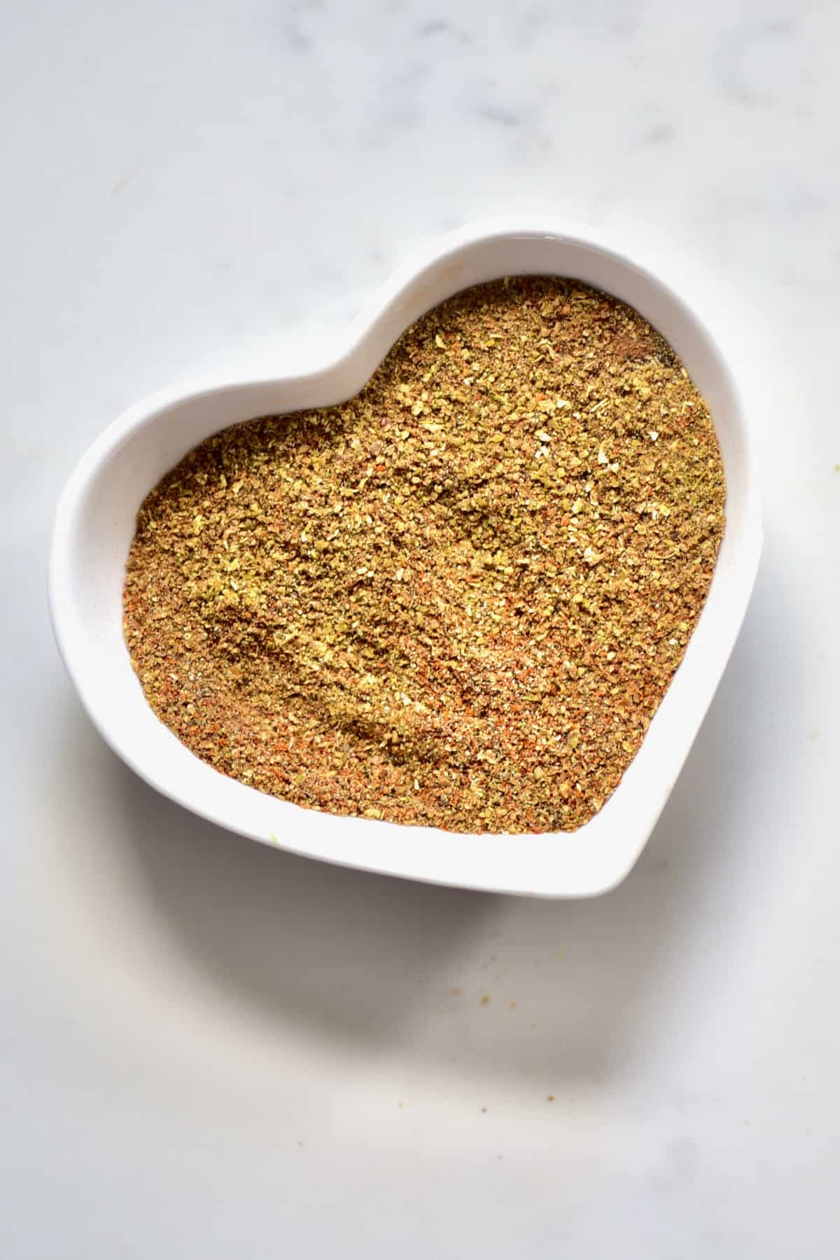 falafel spice mix in a heart bowl