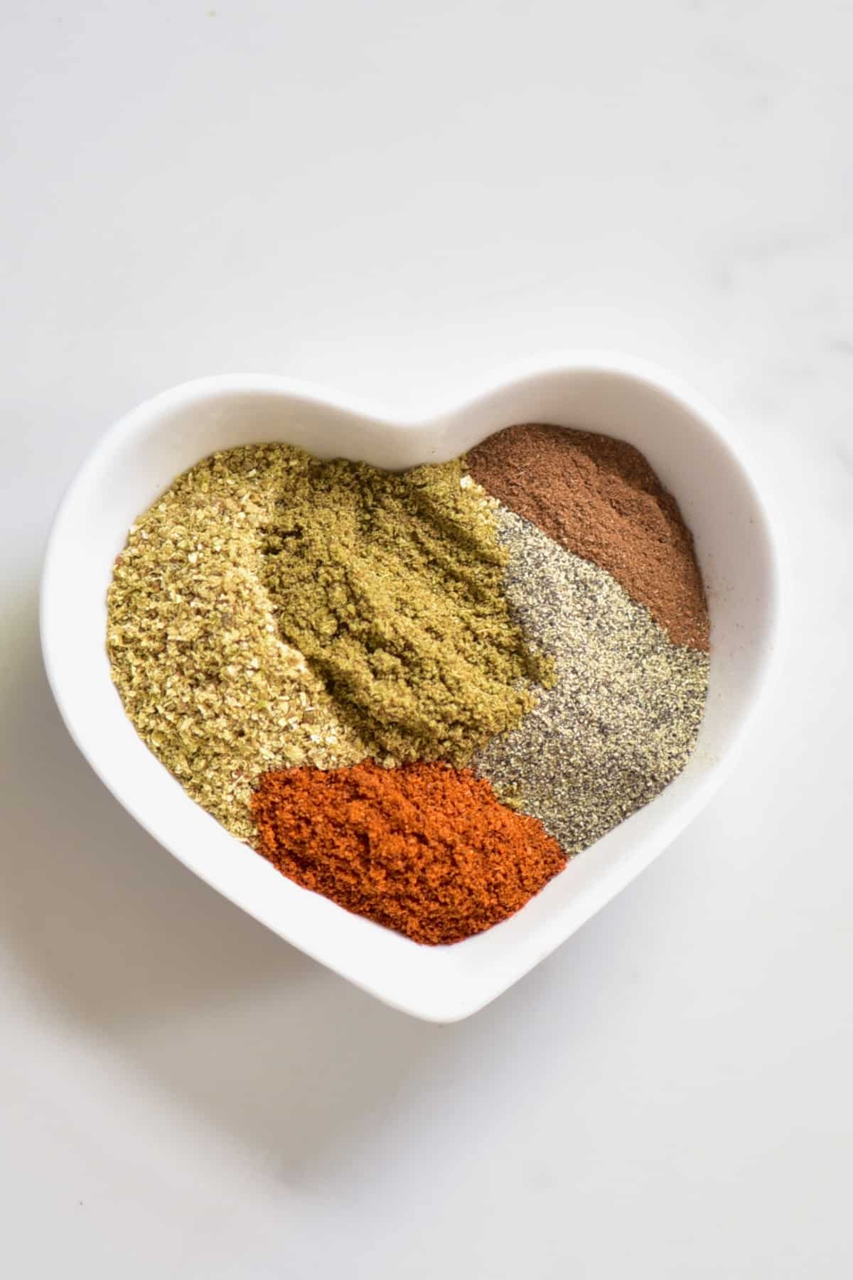 falafel spice mix in a small heart bowl