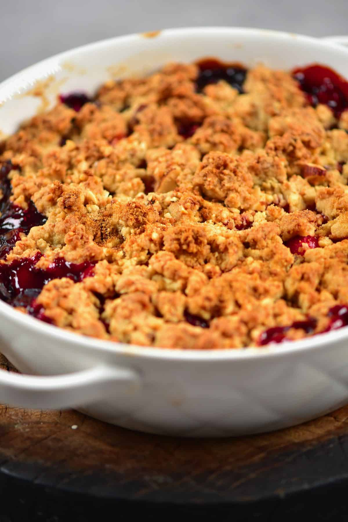 Berry crumble in a baking dish