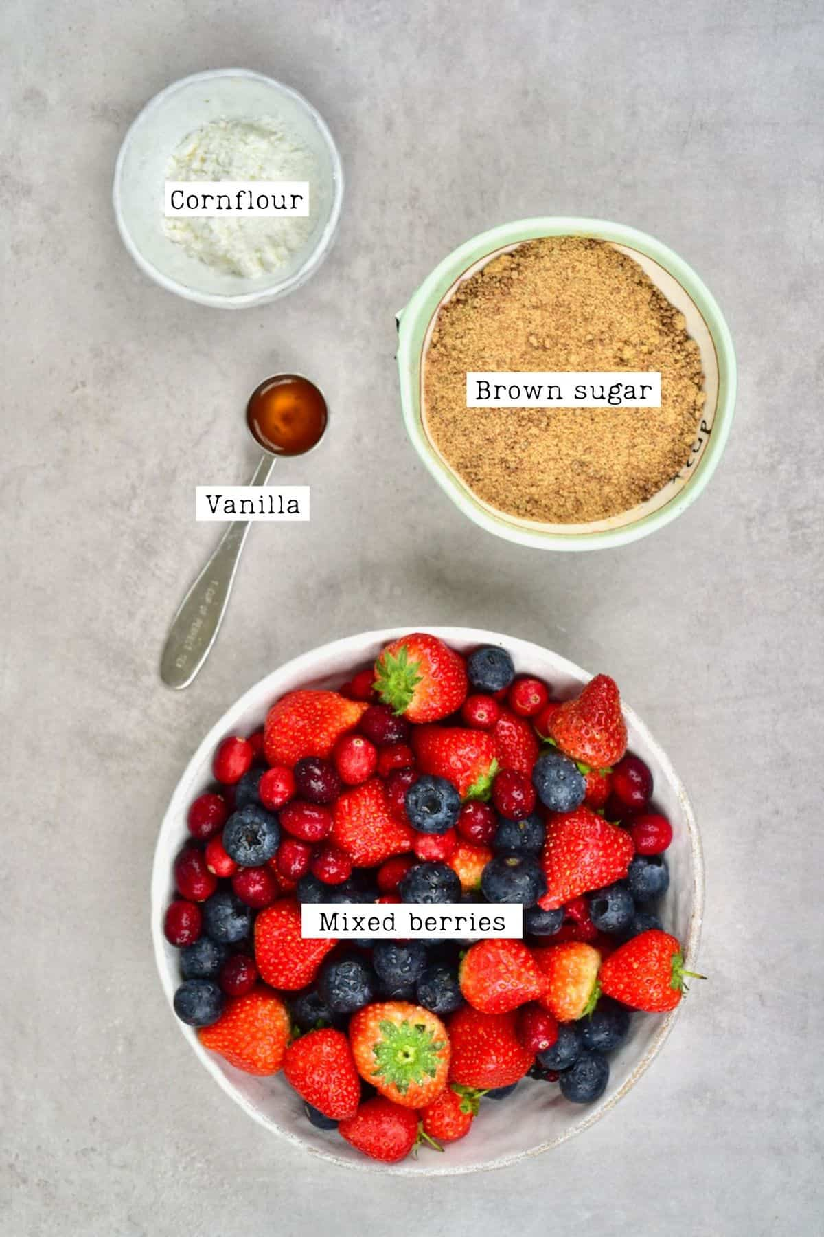 Berry Mixture Ingredients for Berry Crumble