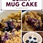 Steps for making berry mug cake