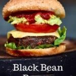 Black bean burger on a flat surface