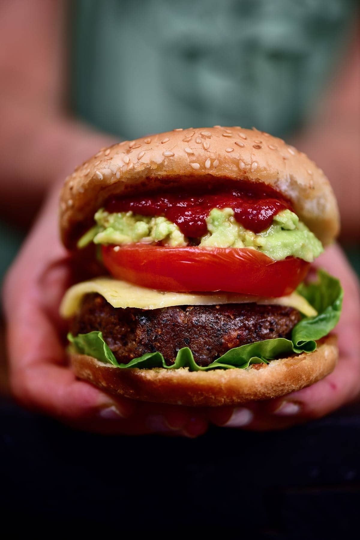 Assembled Black bean patty burger