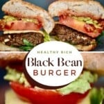 Black bean burger sliced in two
