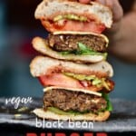 Two halves of black bean burger stacked on top of each other