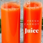 Carrot juice in two small glasses