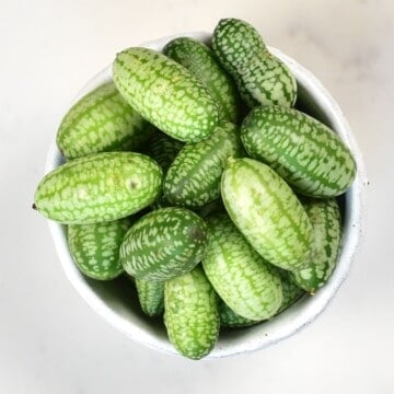 Cucamelon berries in a small bowl