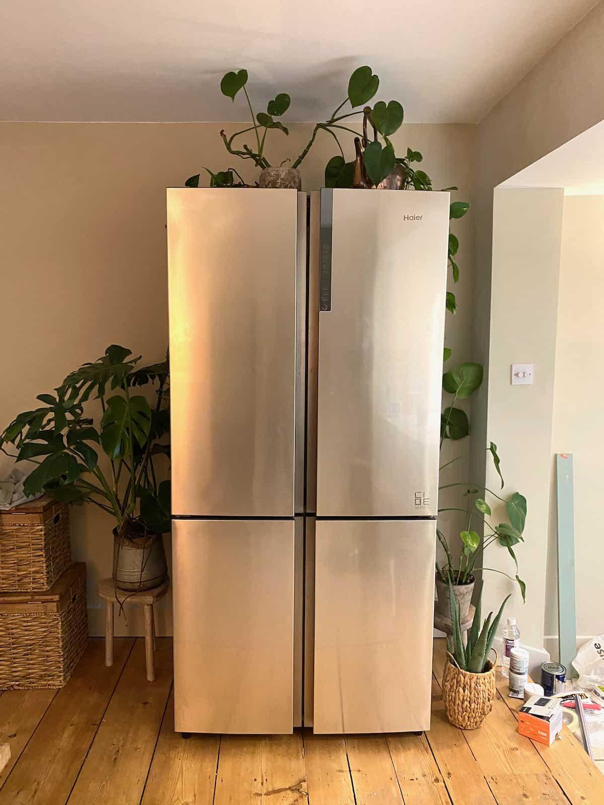 Multi-door fridge freezer with plants around it