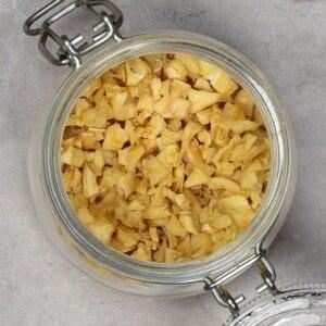 Garlic chips, flakes in a jar