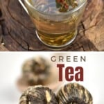 Green tea in a glass and tea shaped as balls