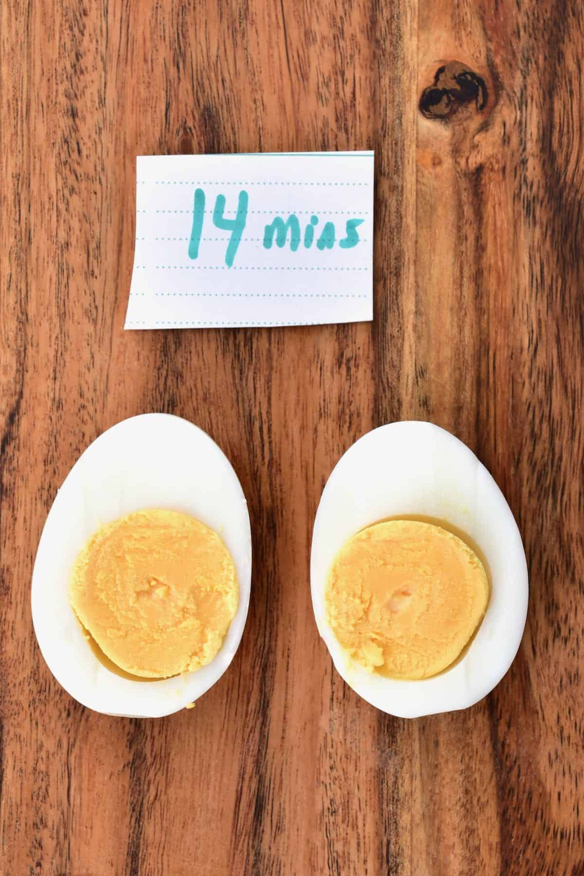 Egg boiled for 14 minutes cut in two