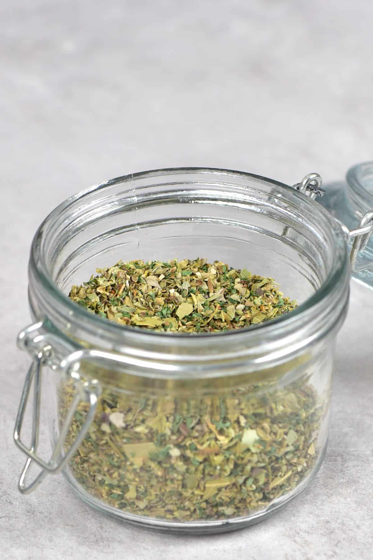 A jar with Italian herb blend