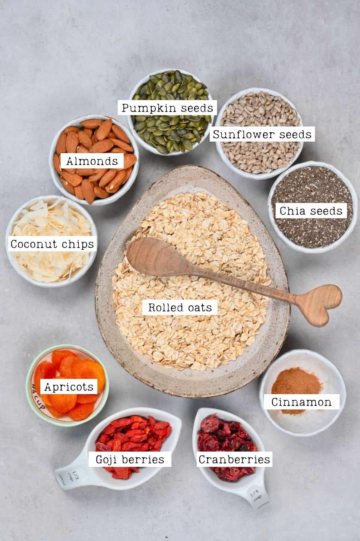 Muesli ingredients in separate bowls