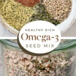A bowl and a jar with omega seed mix